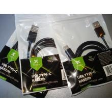 Дата кабель USB 2.0 AM to Type-C 1m stainless steel black Vinga (VCPDCTCSSJ1BK)