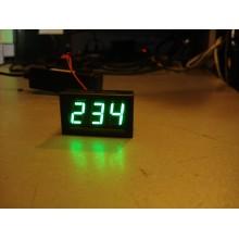 Вольтметр цифровой AC 220V с LED-индикатором 0.56 дюйма зеленый, корпус черный