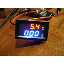 Амперметр вольтметр цифровой DC0-100V / 50A красно-синего свечения, корпус черный