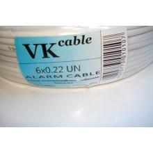 Кабель сигнальный 6 жил без экрана 6Cх (7х0,22мм) биметал, белый, 1м, VKcable