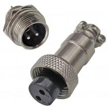Разъем GX12-2 цилиндрический интерфейсный пара штекер+гнездо 2 контакта