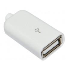 Гнездо USB-A с корпусом БЕЛОЕ глянцевое