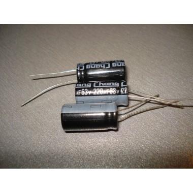 Конденсатор электролитический 220 uF 63 V, 105°C, d10 h20/Chang/серия: CD11; -40°..+105°C 220 63 (1 шт.) #5:51