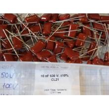 Конденсатор пленочный 10 nF 630 V; ±10% CL21/pitch:10мм; полиэстр; 12*6*11мм (1 шт.) #O23