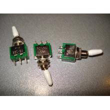 Мини тумблер KNX-1-D1, 1 перекл. контакт, 6А, 125В, изолированная ручка (1 шт.)