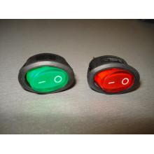 Кнопочный выключатель, овальный, 13.0х22.5 мм, с подсветкой, цвет - зелёный, красный