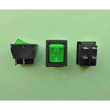 Кнопочный выключатель 28,5 х 22 мм, 15А 250V, цвет клавиши - зеленый (1 шт.) KCD2