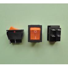 Кнопочный выключатель 28,5 х 22 мм, 15А 250V, цвет клавиши - оранжевый с подсветкой (1 шт.) KCD4