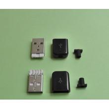 USB штекер разборной, для пайки на кабель, черный, белый на выбор