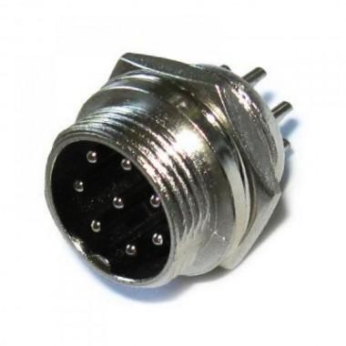 Разъём MIC 338 big (штекер), монтажный, 8pin, диам.-20мм