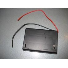 Корпус для трёх батареек типа АА с крышкой и переключателем ON-OFF, 64x48х19мм, с проводками 15см,