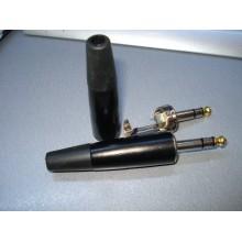 Штекер 6,3мм стерео корпус металл, большой, чёрный (1 шт.)