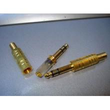 Штекер 6,3мм стерео gold, с насечкой, корпус металл (1 шт.)