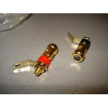 Гнездо-зажим акустическое, монтажное, металлический, gold (1 пара) #P2