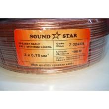 Кабель акустический, алюминиево-медный, 2х0,75мм.кв., прозрачный, 1, Sound Star