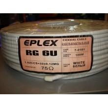 Кабель коаксиальный RG-6 одножильный, лужёная сталь, (32%), белый EPLEX (1 м)