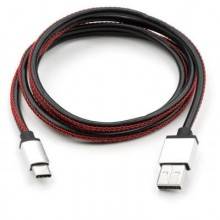 Дата кабель USB 2.0 AM to Type-C 1m pu leather black Vinga (VCPDCTCLS1BK)