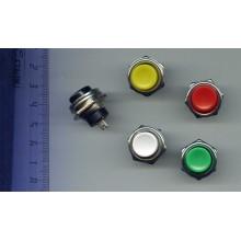 Кнопка пусковая без фиксации, 250V 2A, PBS-26B цвет - красный, зеленый, желтый, белый, синий, черный